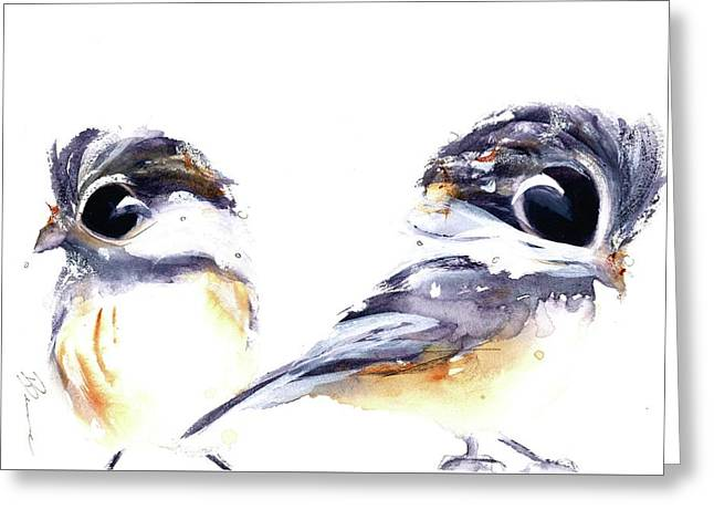 Greeting Card featuring the painting 2 Chickadees by Dawn Derman