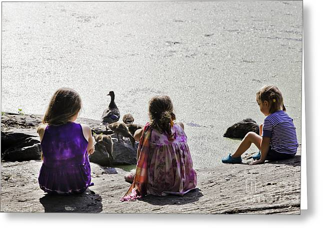 Children At The Pond 5 Greeting Card by Madeline Ellis