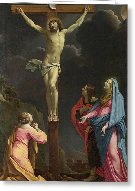 Christ On The Cross With The Virgin And Saints Greeting Card