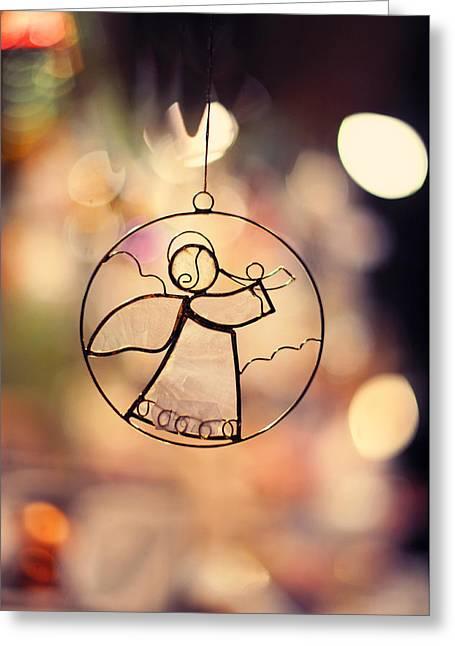 Christmas Angel Greeting Card by Jenny Rainbow