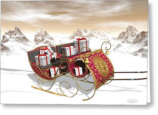 Christmas Santa Sleigh Full Of Gifts - 3d Render Greeting Card by Elenarts - Elena Duvernay Digital Art