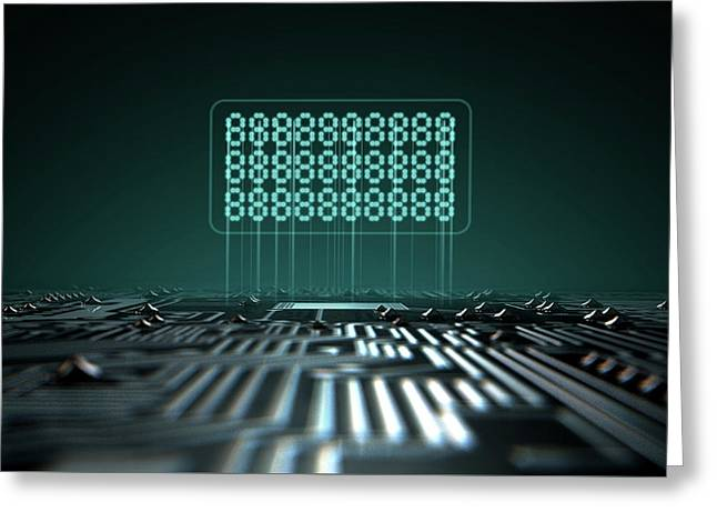 Circuit Board Projecting Text Greeting Card by Allan Swart