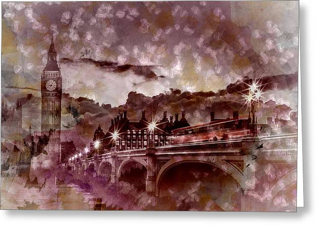 City-art London Westminster Bridge At Sunset Greeting Card