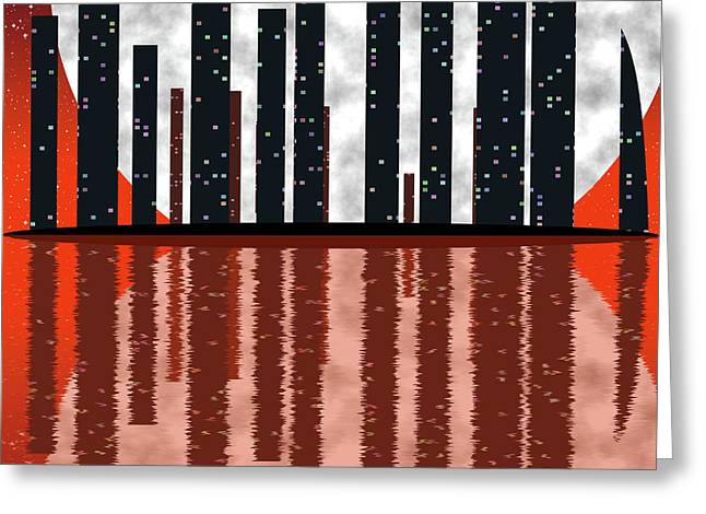 City Skyline At Full Moon Greeting Card by Michal Boubin