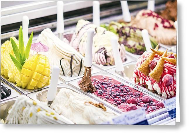 Classic Italian Gelato Ice Cream In Shop Display Greeting Card by Jacek Malipan
