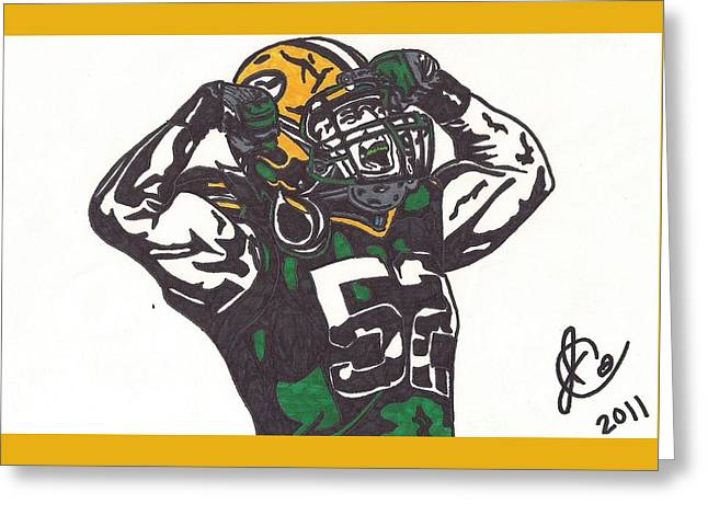 Greeting Card featuring the drawing Clay Matthews 2 by Jeremiah Colley