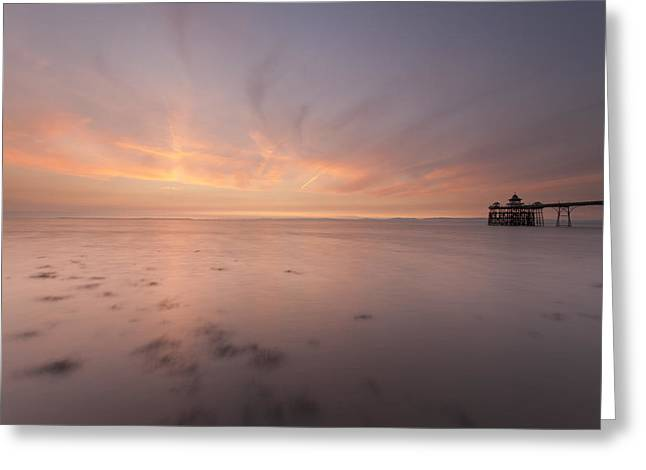 Clevedon Sunset Greeting Card