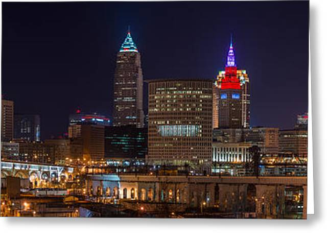 Cleveland Panoramic  Greeting Card by Frank Cramer