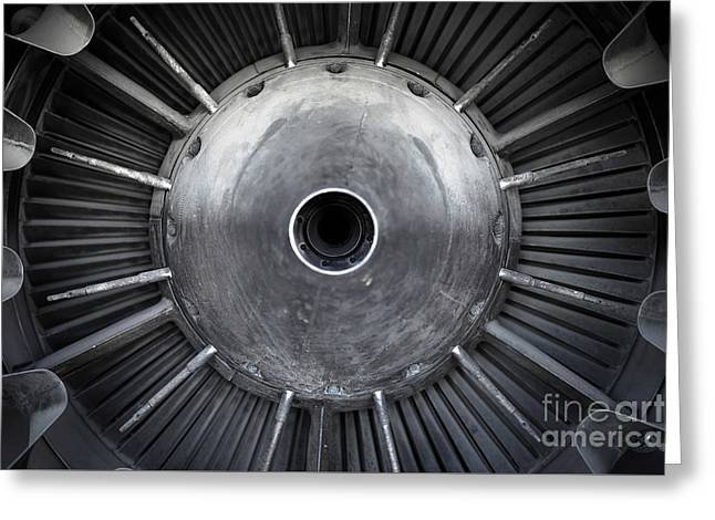 Closeup Of A Jet Engine  Greeting Card by Anna Vaczi