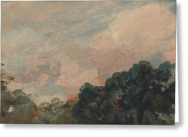 Cloud Study With Trees Greeting Card by John Constable