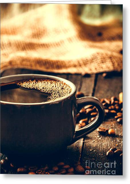 Coffee Greeting Card by Mythja Photography