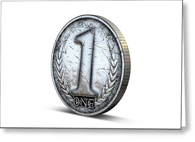 Coin Number One Greeting Card by Allan Swart