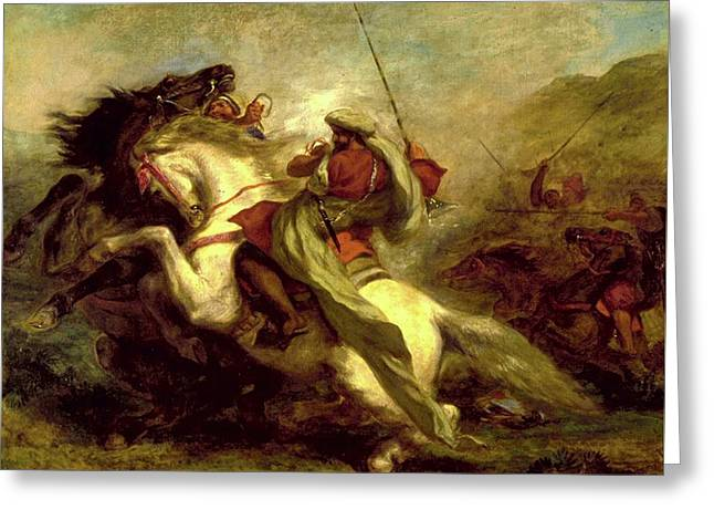 Greeting Card featuring the painting Collision Of Moorish Horsemen by Eugene Delacroix