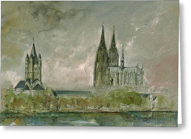 Cologne Cathedral Greeting Card by Juan  Bosco
