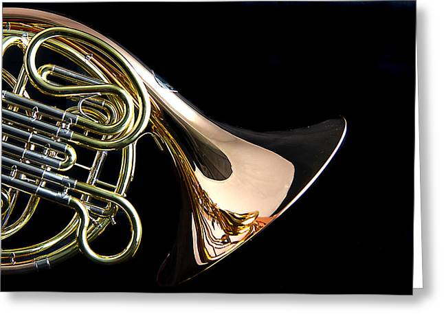 Mac K Miller Greeting Cards - Color French horn Greeting Card by M K  Miller