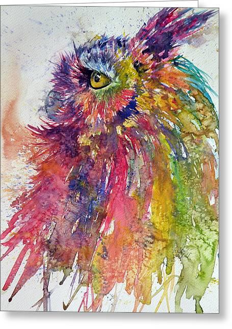 Colorful Owl Greeting Card by Kovacs Anna Brigitta