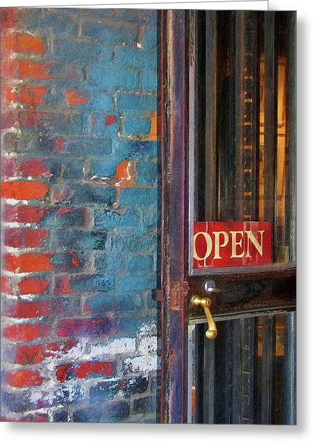 Come On In, We're Open Greeting Card by JAMART Photography