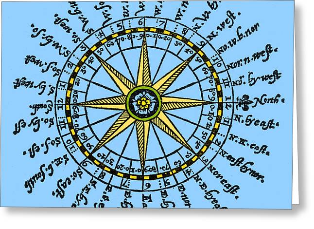 Compass Rose, 1607 Greeting Card