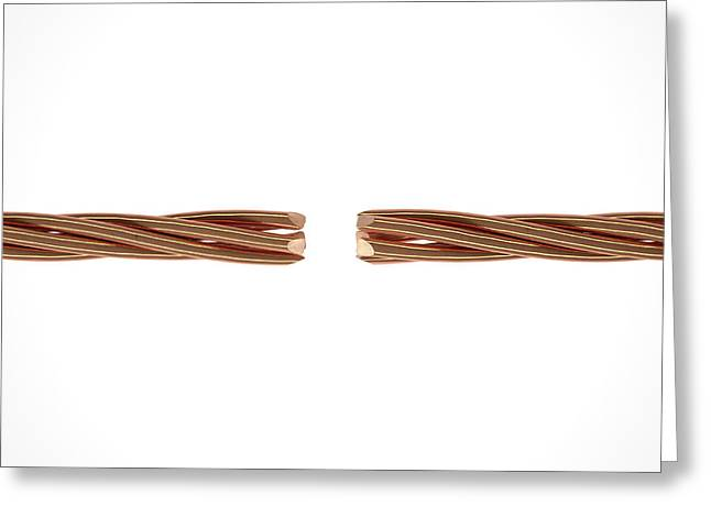 Copper Wire Strands Disconnected Greeting Card by Allan Swart