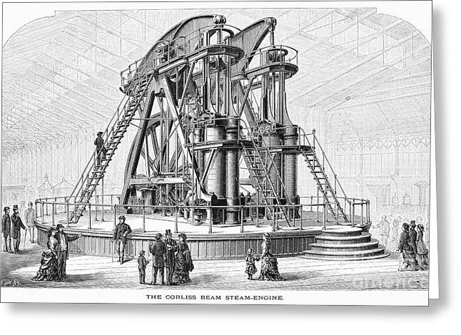 1876 Greeting Cards - Corliss Steam Engine, 1876 Greeting Card by Granger