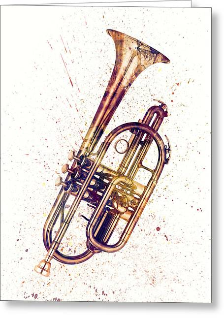 Cornet Abstract Watercolor Greeting Card by Michael Tompsett