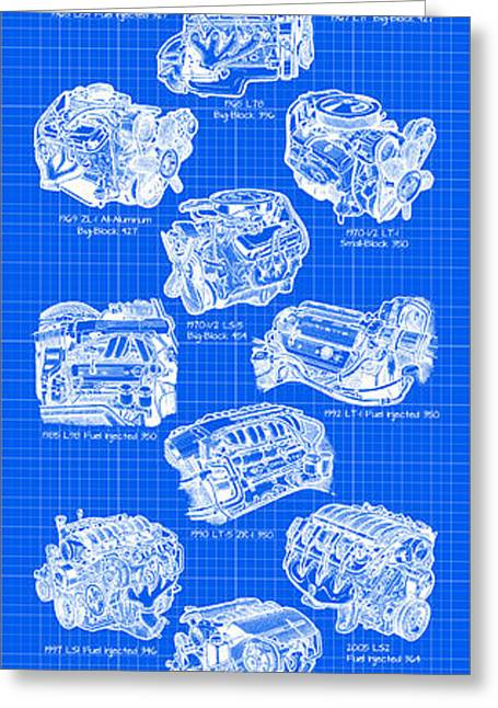 Corvette Power - Corvette Engines Blueprint Greeting Card by K Scott Teeters