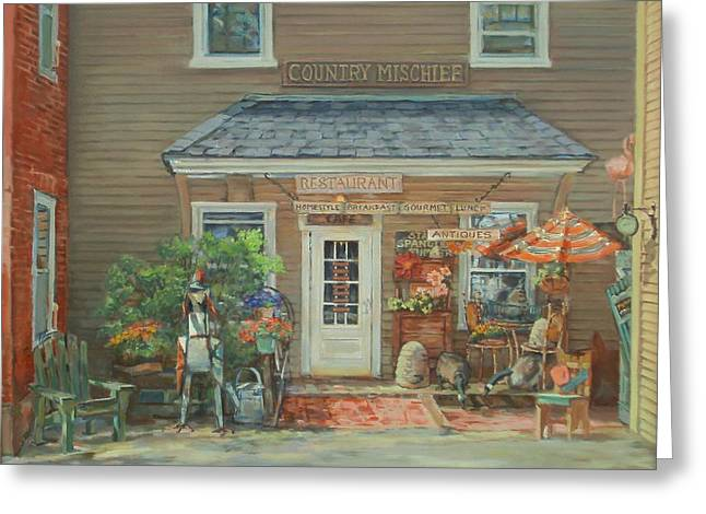 Country Mischief Greeting Card by Sharon Jordan Bahosh