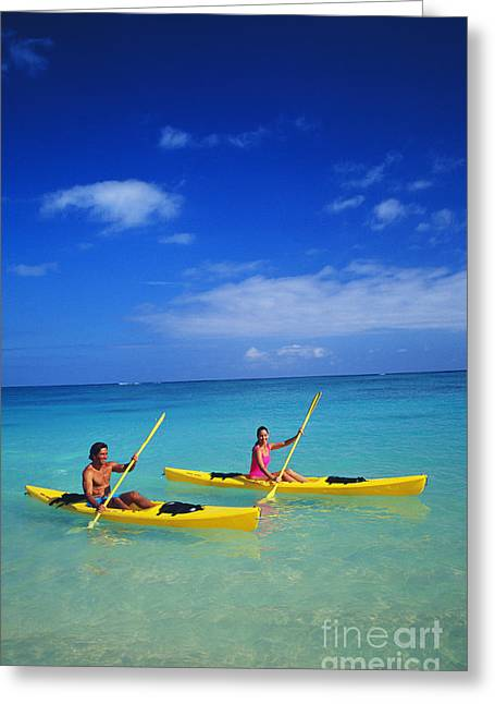 Couple Paddling Greeting Card by Kyle Rothenborg - Printscapes