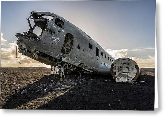 Greeting Card featuring the photograph Crashed Dc-3 by James Billings