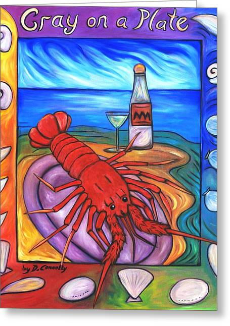 Greeting Card featuring the painting Cray On A Plate by Dianne  Connolly