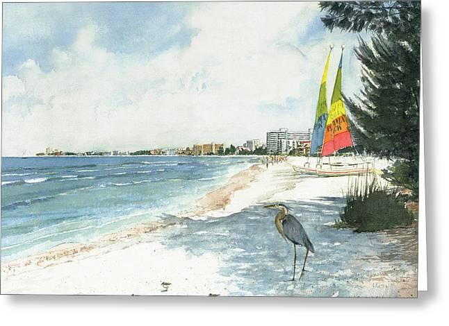 Blue Heron And Hobie Cats, Crescent Beach, Siesta Key Greeting Card