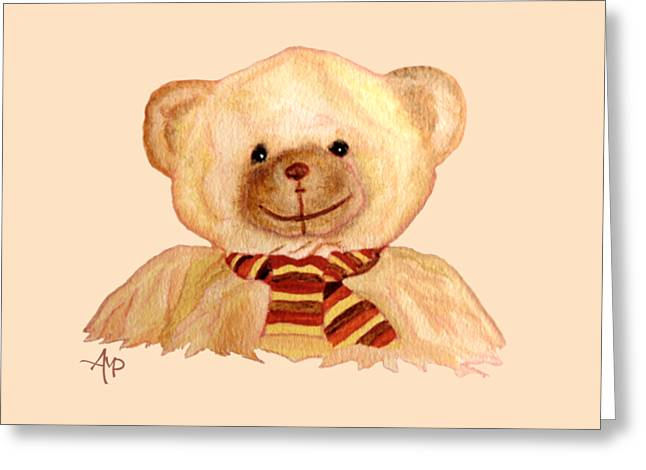 Greeting Card featuring the painting Cuddly Bear by Angeles M Pomata
