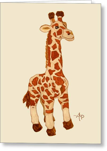 Cuddly Giraffe Greeting Card by Angeles M Pomata