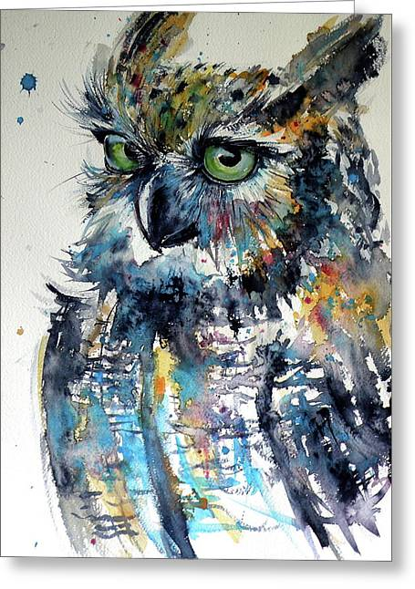 Greeting Card featuring the painting Cute Owl by Kovacs Anna Brigitta