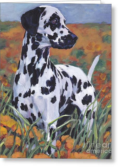 Greeting Card featuring the painting Dalmatian by Lee Ann Shepard