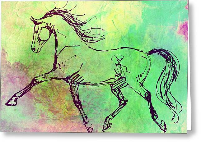 Greeting Card featuring the photograph Dance Partner Watercolor by Dressage Design