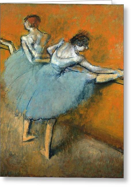 Dancers At The Barre Greeting Card by Edgar Degas