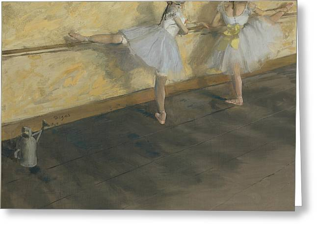 Dancers Practicing At The Bar Greeting Card by Edgar Degas