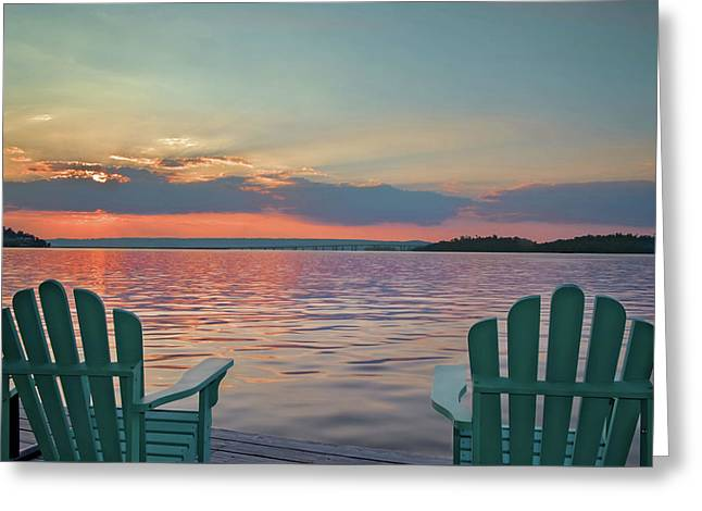 Day's End Greeting Card by Jeannee C Gannuch