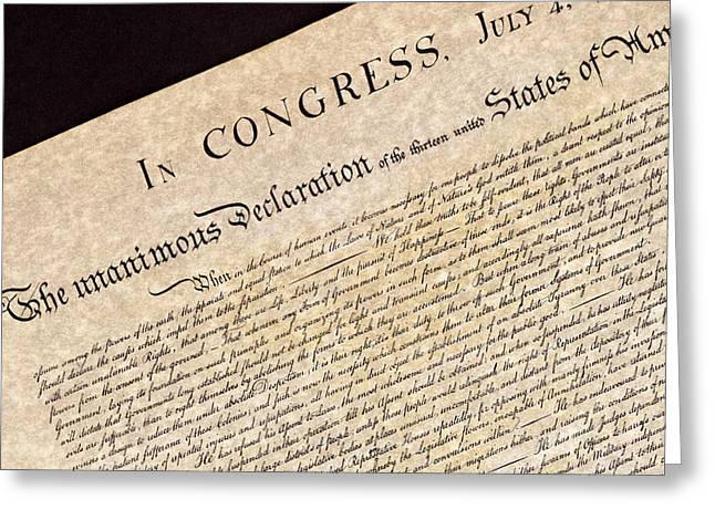 Declaration Of Independence Greeting Card by Jack R Perry