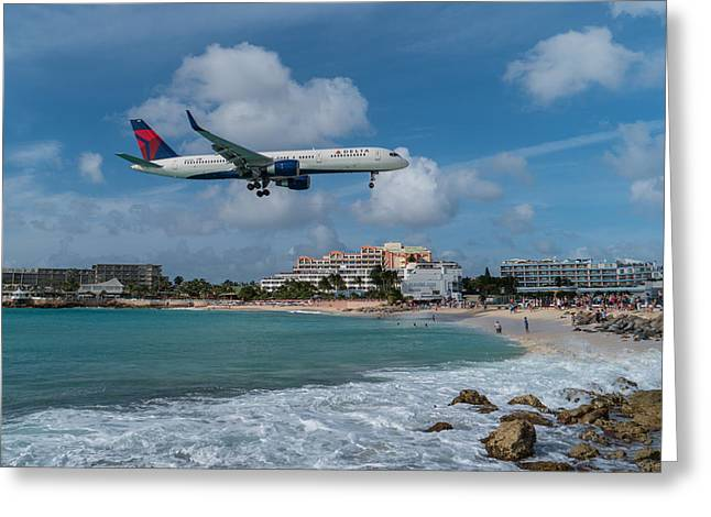 Delta Air Lines Landing At St. Maarten Greeting Card by David Gleeson
