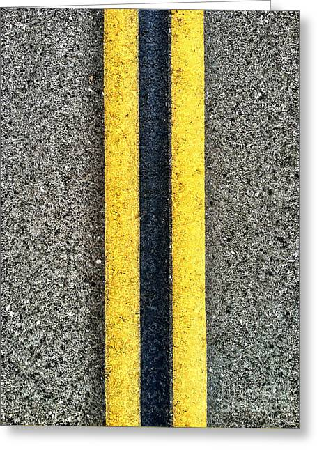 Double Yellow Road Lines Greeting Card