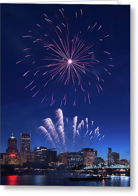 Downtown Fireworks Greeting Card