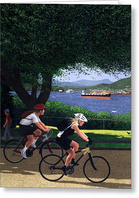 Burrard Inlet Greeting Cards - East Van Bike Ride Greeting Card by Neil Woodward