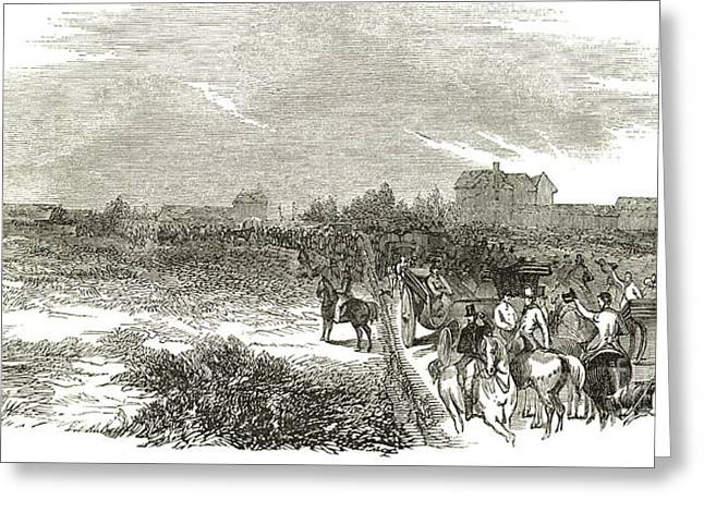 Easter Hunt With The Royal Stag Hounds  The Meet At Stoke Common Greeting Card