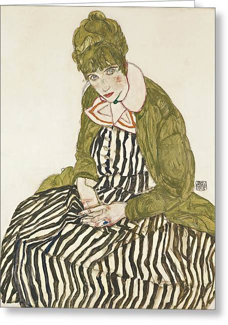 Edith With Striped Dress, Sitting Greeting Card by Egon Schiele