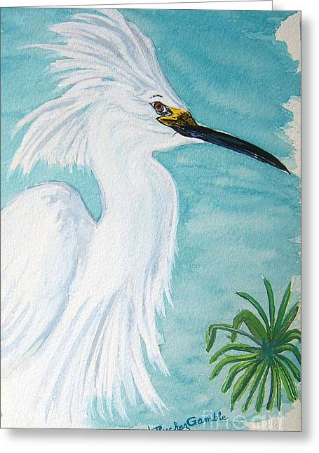 Egret Greeting Card by Nancy Rucker
