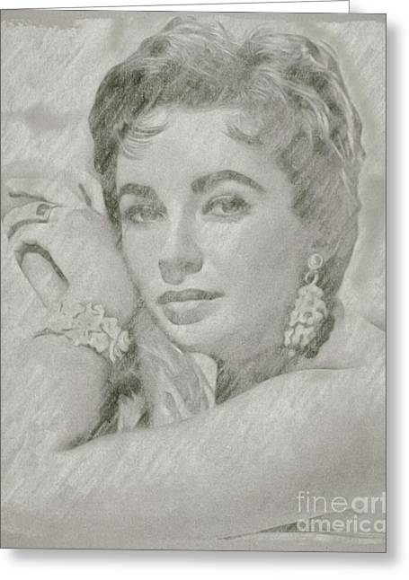 Elizabeth Taylor Hollywood Actress Greeting Card by Frank Falcon