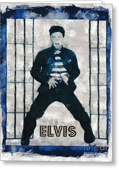 Elvis Presley, Singer Greeting Card by Mary Bassett