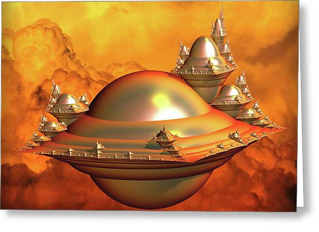 Encapsulated Space City Greeting Card by Lilia D